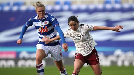 Reading's Kristine Leine (left) and Arsenal's Danielle Van de Donk battle for the ball during the FA