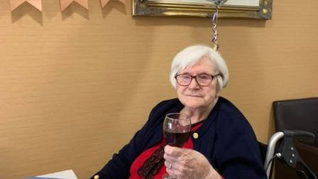 Olive Turpie celebrated her 100th birthday at the Field Lodge Care Home in St Ives