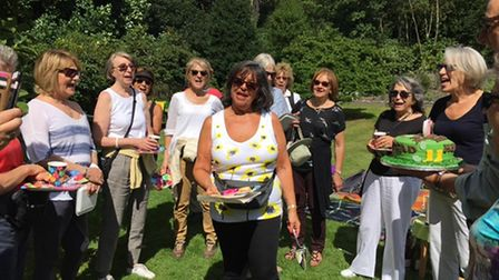 The Heath walking group celebrate Diane David's birthday before the pandemic hit.