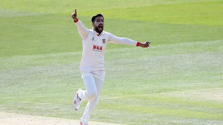 Mohammad Amir of Essex celebrates taking the wicket of Ollie Rayner during Kent CCC vs Essex CCC, Sp