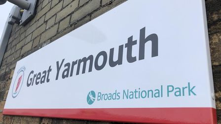 Great Yarmouth railway station sign.