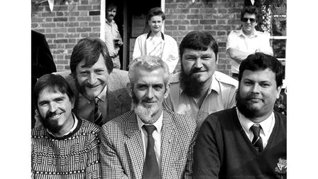 A sponsored half beard shave at The Woolpack pub in Ipswich in September 1986