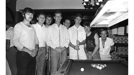 Pool players during a tournament at the Racecourse pub, Ipswich, in August 1986