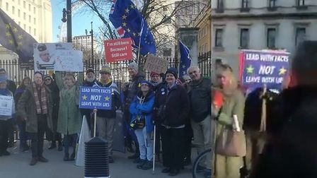 Steve Bray with campaigners in Westminster (left) and during the incident (right). Photograph: Twitt
