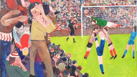A vibrant football-inspired painting by North Devon artist Peter Stiles