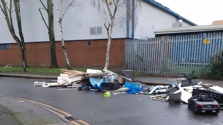 Fly-tipped rubbish was left outside Beckton Skills Centre