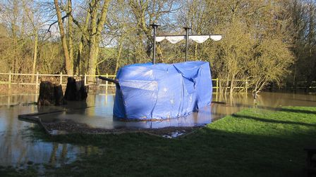 Flooding in the garden of Coach and Horses pub, Newport