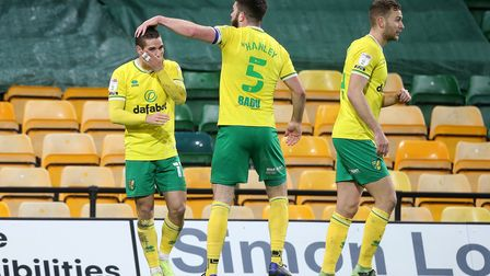 Emiliano Buendia of Norwich celebrates scoring his sideÕs 1st goal during the Sky Bet Championship m