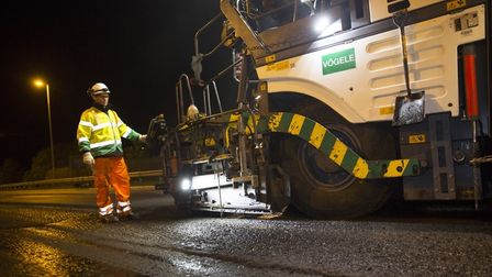 Overnight resurfacing work on the A14 at Levington was part of the £26million scheme by Highways England