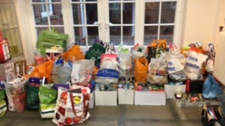 Hitchin Girls' School donated to Letchworth Foodbank.