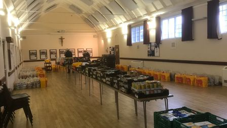Fortescue Hall, St Hugh of Lincoln RC Church Letchworth, where members of the Foodbank Team made up the Christmas Hampers