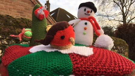Barley Knitters Group's Christmas Yarnbombing raised funds for Letchworth foodbank.
