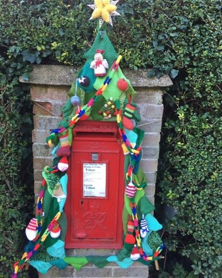 Barley Knitters Group's Christmas Yarnbombing raised funds for the foodbank.