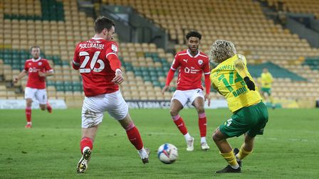 Todd Cantwell of Norwich has a shot on goal during the Sky Bet Championship match at Carrow Road, No