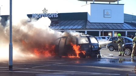 This video was taken in the Morrisons car park in Ipswich after a car caught fire this morning