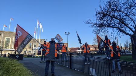 GMB union representativesdemonstrated today, socially-distanced at Havering Town Hall.