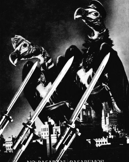 "Photomontage by John Heartfield. Madrid: ""They shall not pass ! We wil pass !"" (War in Spain), 1936,"