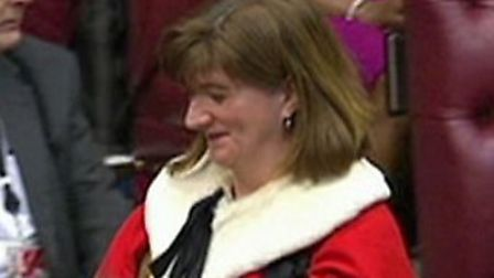 Nicky Morgan take her seat in the House of Lords. Photograph: BBC Parliament.