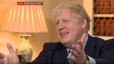 Boris Johnson is asked about the Russia report on BBC Breakfast. Photograph: BBC.