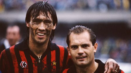 NAPLES, UNITED KINGDOM - JANUARY 01: AC Milan players Mark Hateley (l) and Ray Wilkins (r) picture