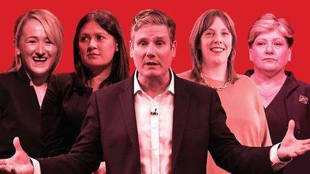 Rebecca Long-Bailey, Lisa Nandy, Keir Starmer, Jess Phillips and Emily Thornberry. Photograph: Getty/TNE.