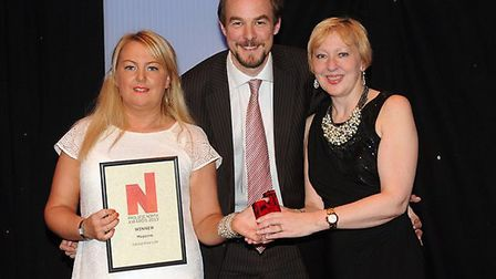 Lancashire Life Sales Manager Lindsey Stephens accepts the award along with Louise Taylor (on behalf