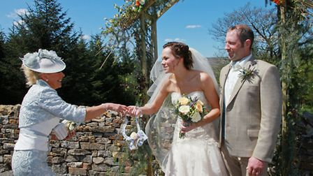Wedding at Stephen Park,Slaidburn, Danielle Harbour and Laurie Smith receiving a lucky horseshoe fro