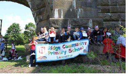 Youngsters from Ridge Community Primary School at the officially opening
