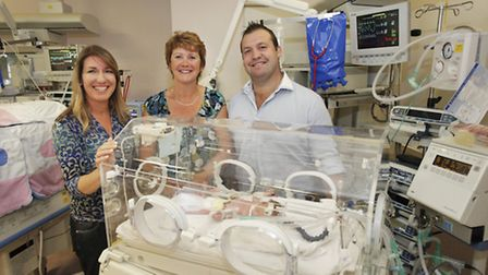 Sarah and Jane visit to SCBU with Mark Regan, patron and England Rugby World Cup winner.