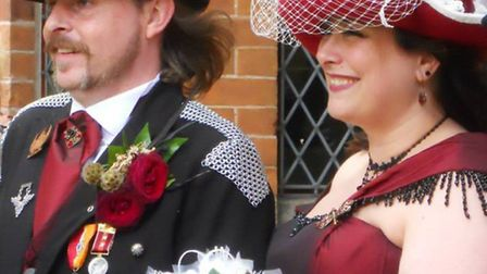 Amanda and Jason in their finery