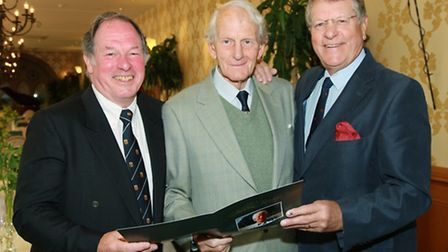 Ken Woolley (centre) was the guest of honour at a lunch at the Gibbon Bridge Hotel, Chipping, to rec