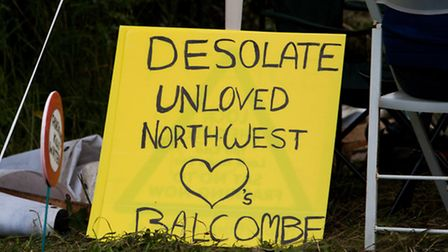 Placard from the 'desolate unloved northwest' at protest against Cuadrilla drilling & fracking © Ma