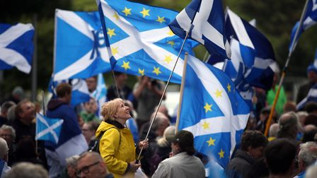 Campaigners fighting against Brexit in Scotland. Photograph: PA / Jane Barlow.