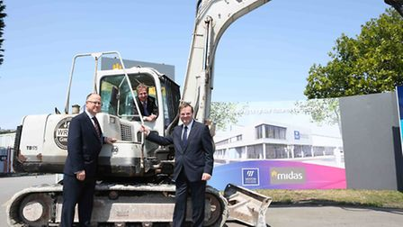 Weston College Principal (on digger) North Somerset Council Chief Executive (on right under digger a