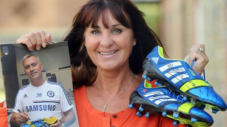 Some of the auction lots for the Sir Bobby Robson charity auction. Cherie Oldfield is pictured with