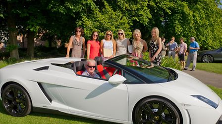 Paul Hughes in car, Sue Saunders, Caroline Egerton, Charlie Hewitt, Sandy Lowther and Becky Want