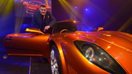 Tony Keating with The Bolt supercar at the launch event this autumn
