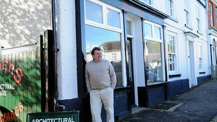 Sam Coster at his shop Mongers at Hingham. Picture: Denise Bradley.