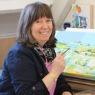 Marion Taylor at work at St Micheal's Studios in Bridport