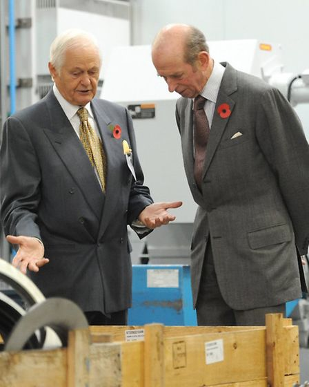 Chairman and owner Edward Fort show the Duke around Fort Vales Simonstone factory.