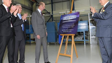 HRH the Duke of Edinburgh unveils a plaque in the new research and development centre at Fort Vale.