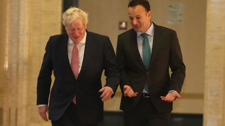Taoiseach Leo Varadkar (right) and prime mnister Boris Johnson in the Parliament Buildings, Stormont