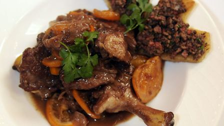 Braised duck with fig and apricots .Photo:Sonya Duncan
