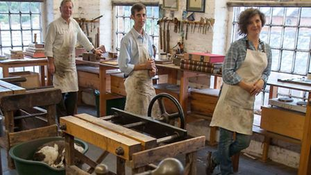 Nick, Emily and Alexander in the bindery