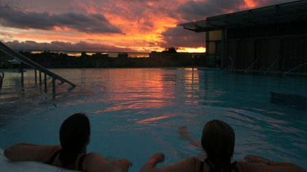 Photo Matt Cardy: The rooftop pool at Thermae Spa