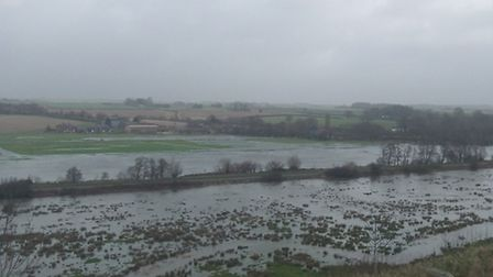 River Frome flooding seen from Poundbury Fort, Dorchester. Photo by Sally Welbourn