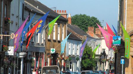 The streets decorated for Ilminster's Midsummer Experience