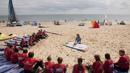 Surf school on the beach at Bournemouth