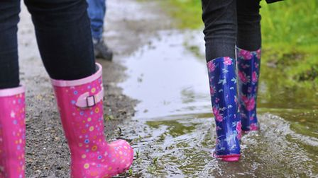 Animal tracking, walking free through a puddle, Schools' Holiday Club, RSPB Rye Meads, May 2013