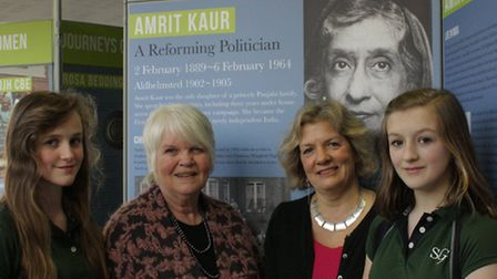 L5 Sherborne Girls students Sophie West and Jenny Guy with former archivist Christine Stones (left)